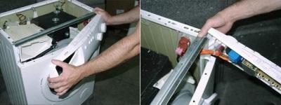 Убираем ящик распределителя стиральной машины