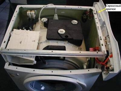 Фиксация панели сервисном крюком стиральной машины