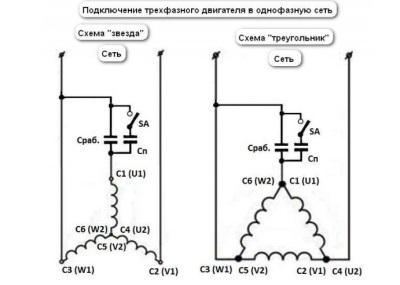 Схемы подключения трехфазного асинхронного двигателя от стиральной машины