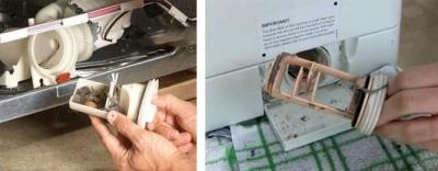 Засоренный фильтр в стиральной машине