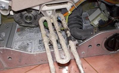 Сломанный ТЭН стиральной машины