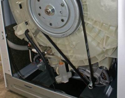 Вращение барабана стиральной машины автомат при помощи двигателя и ремня