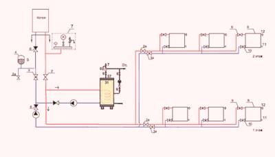 Схема обвязки бойлера косвенного нагрева с двумя насосами