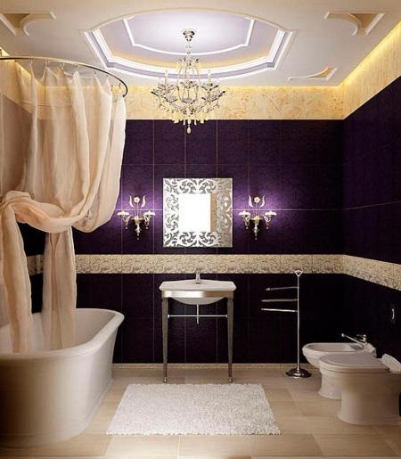 Фиолетовая ванная комната в классическом стиле