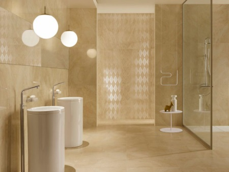 Badkamer in beige tinten