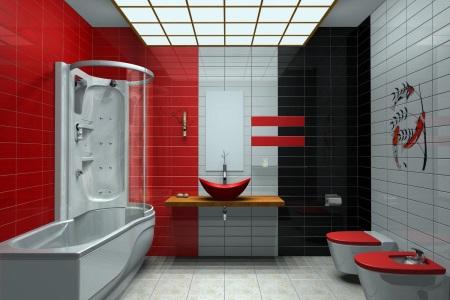 Черно-красно-белая ванная