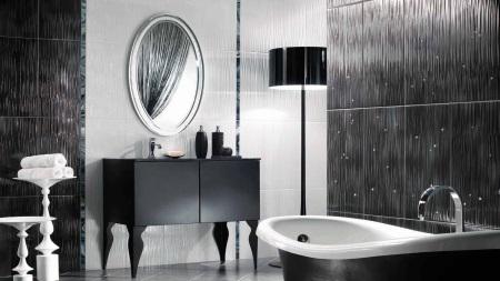 Черно-серая ванная