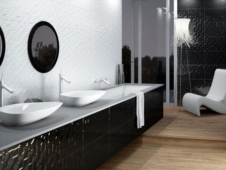 Глянцевая мебель в черной ванной