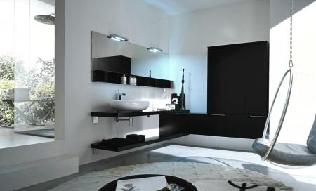 Комбинация черного с белым в ванной
