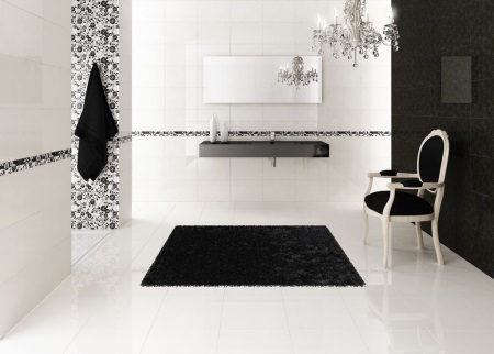 Зонирование ванной черным цветом