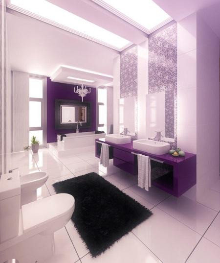 Фиолетовая ванная комната