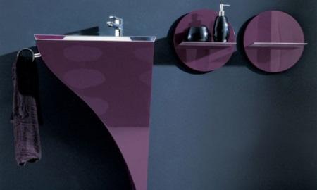 Мебель фиолетовая в ванной