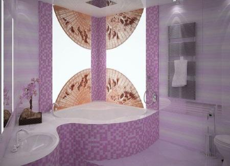 Сиреневая ванная с японскими мотивами