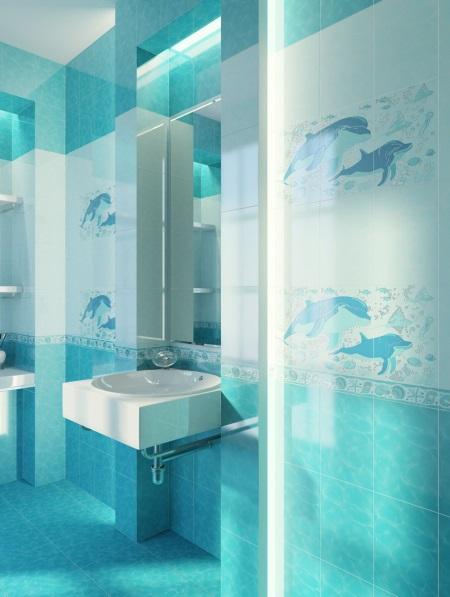 Плитка голубая с дельфинами