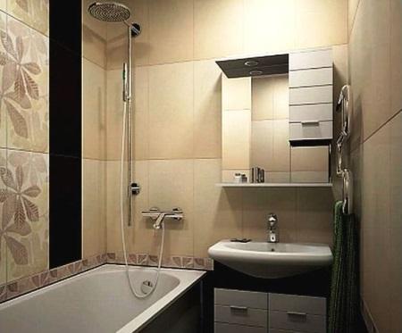 Хрущевка - бежевая ванная с коричневыми вставками