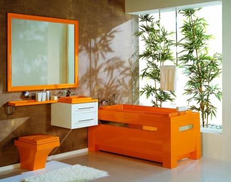 Коричнево-оранжевая ванная