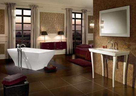 Аксессуары в коричневой ванной