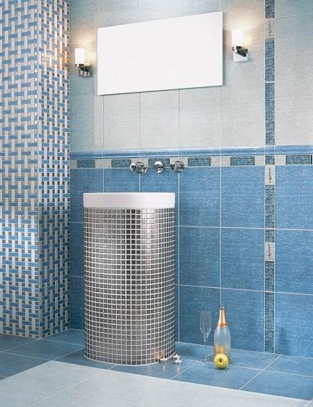 Ванная синяя с серебристым