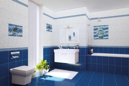 Синяя ванная с белым