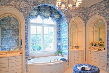 Синий и голубой, белый ванная
