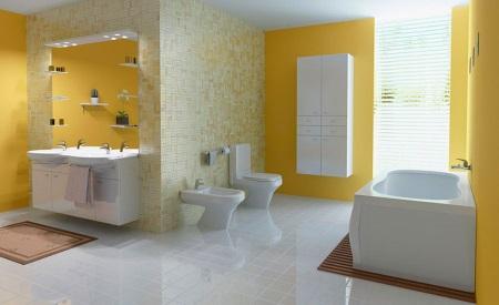 Покрашенные стены в желтой ванной