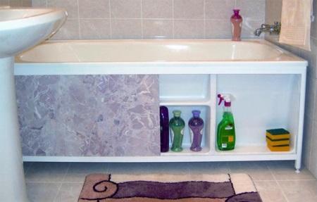 Места хранения за экраном ванны