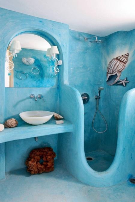 Ванная с душем в морском стиле