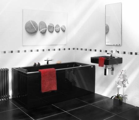 Пример черно-белой ванной