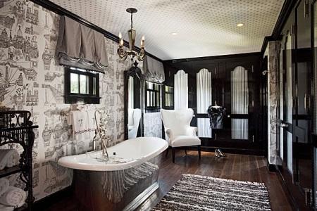 Освещение в черно-еблой ванной