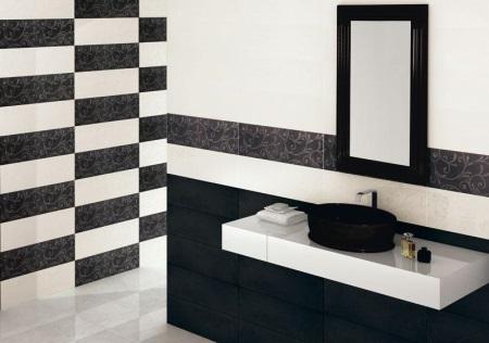Горизонтальная черная плитка в ванной