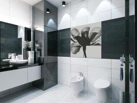 Элегантная черно- белая ванная