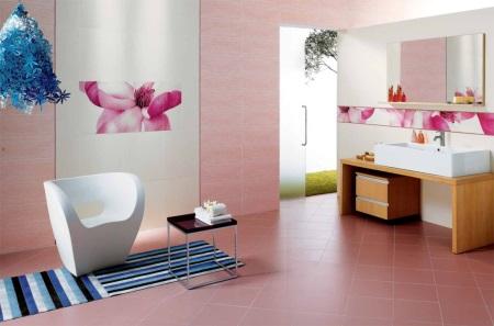 Нежность розового в ванной