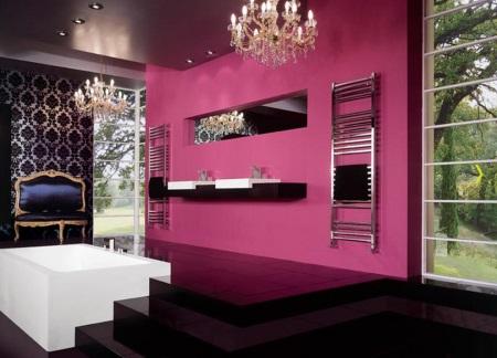 Насыщенный розовый с черным в ванной