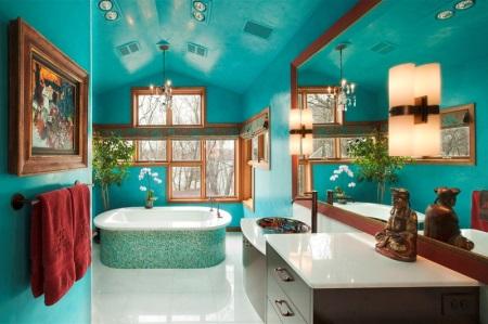 Красивая бирюзовая ванная