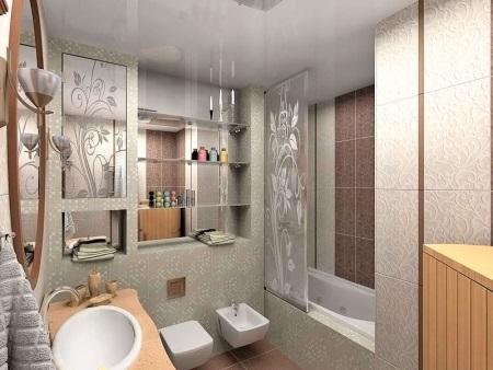 Вариант отделки в ванной комнате в панельном доме