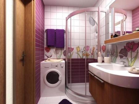 Ванная 5 кв м - душ и стиральная машина