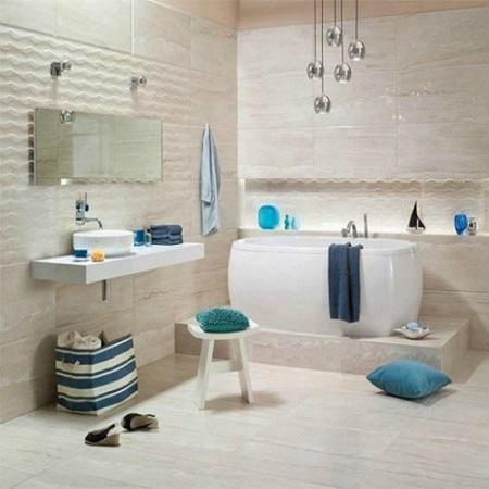 Белый цвет ванной в морском стиле