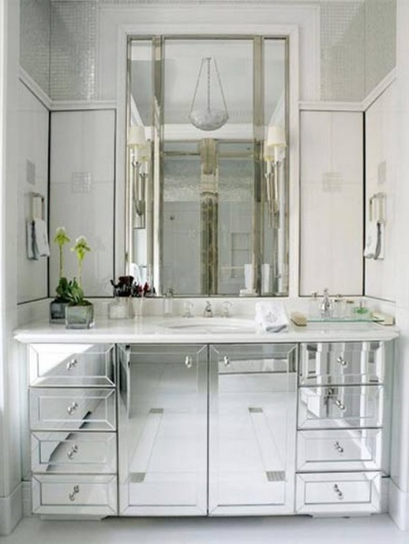 Зеркальная мебель в ванной