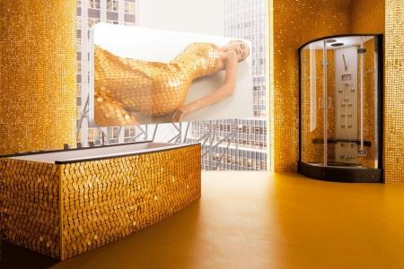Оригинальная золотая ванная с чешуей