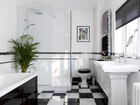 Цветовое решение ванной комнаты выполненной в стиле арт-деко