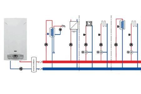 Схема подключение бойлера с применением гидроколлектора и балансировочных вентилей