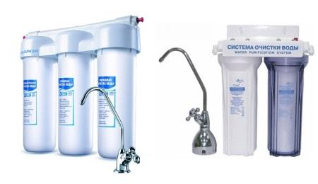 Двухступенчатый и трехступенчатый фильтры для воды